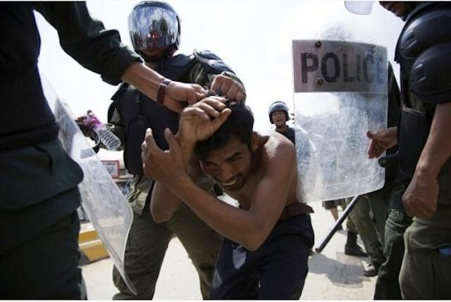 Police in Cambodia intervene in factory workers strike