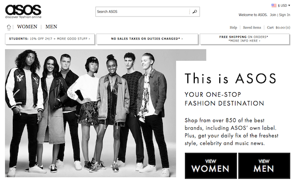 Asos website screenshot