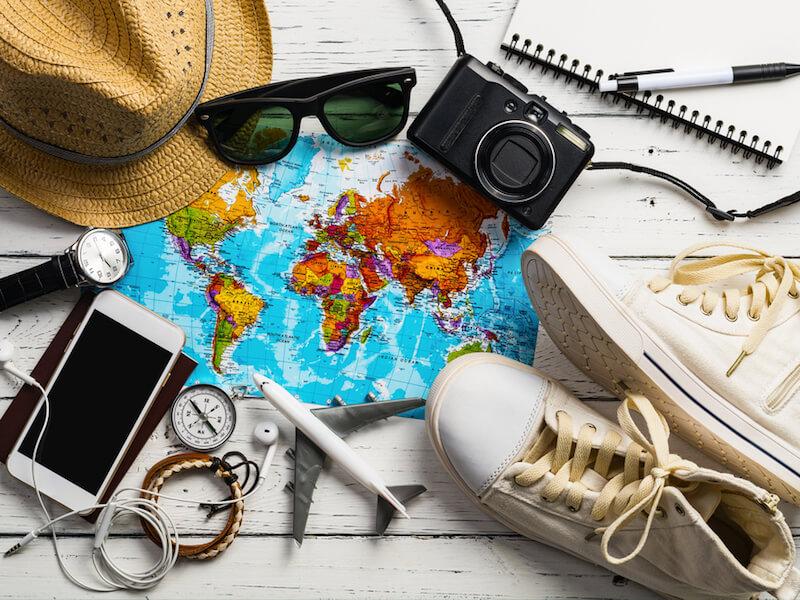 Travel footwear scene