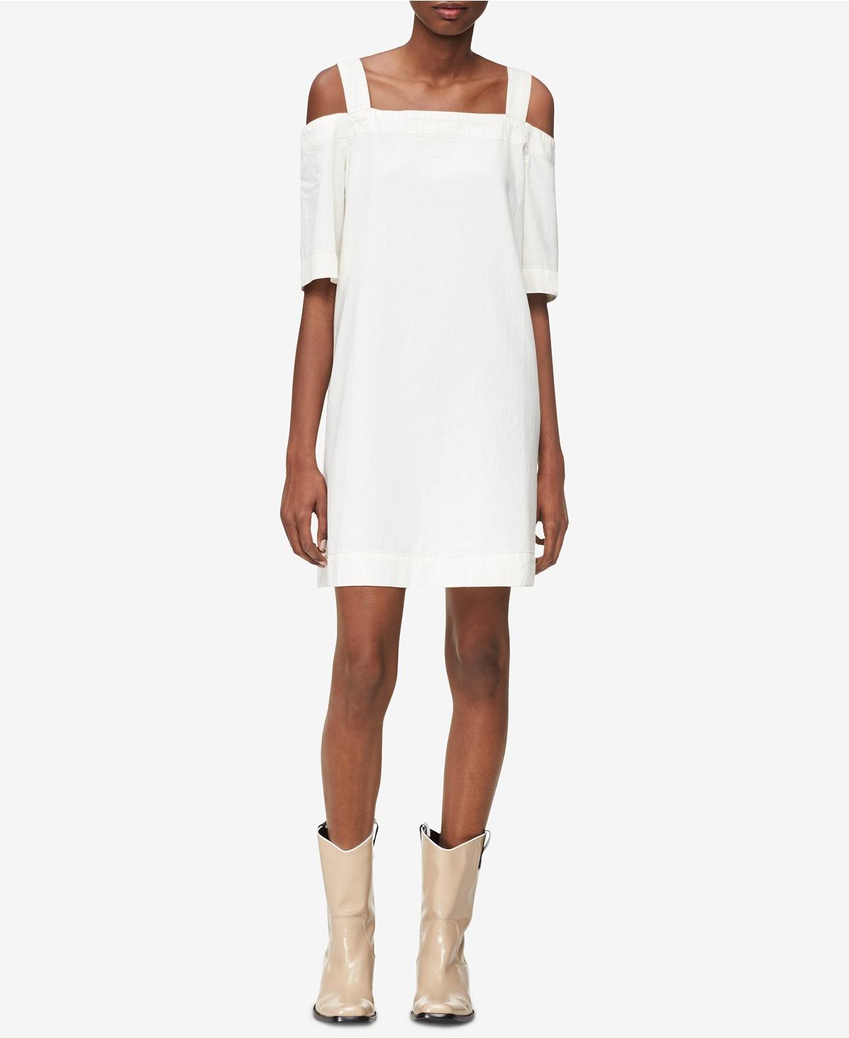 Cold-shoulder denim dress