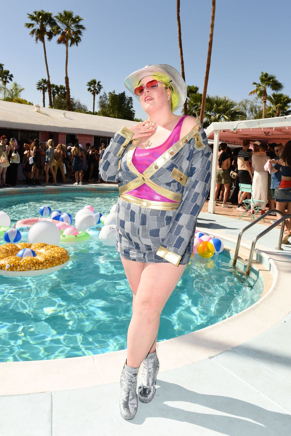 Patchwork denim pops up at pool parties in 2017.