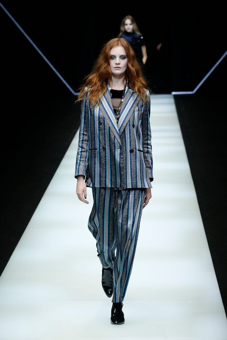 Slouchy silhouettes and luxury fabrics like this suit by Emporio Armani combines tailoring and comfort.