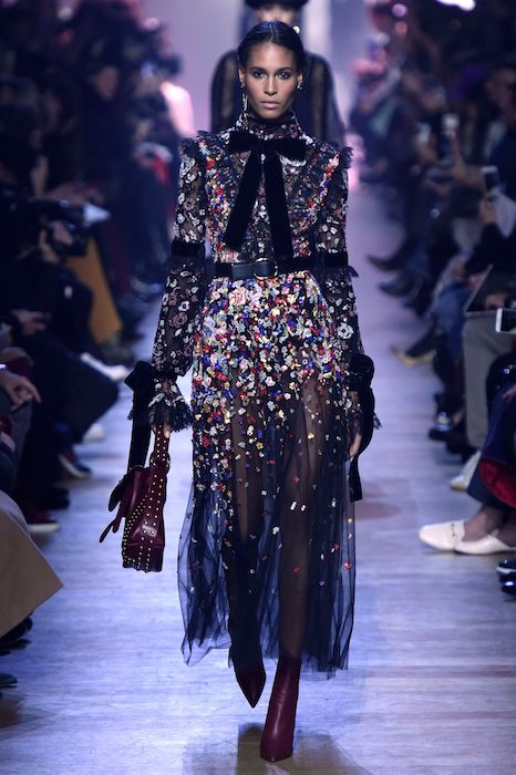 More is more for special occassion power dressing. Elie Saab sums up the trend's fondess for embellishment, neck ties and ruffles.