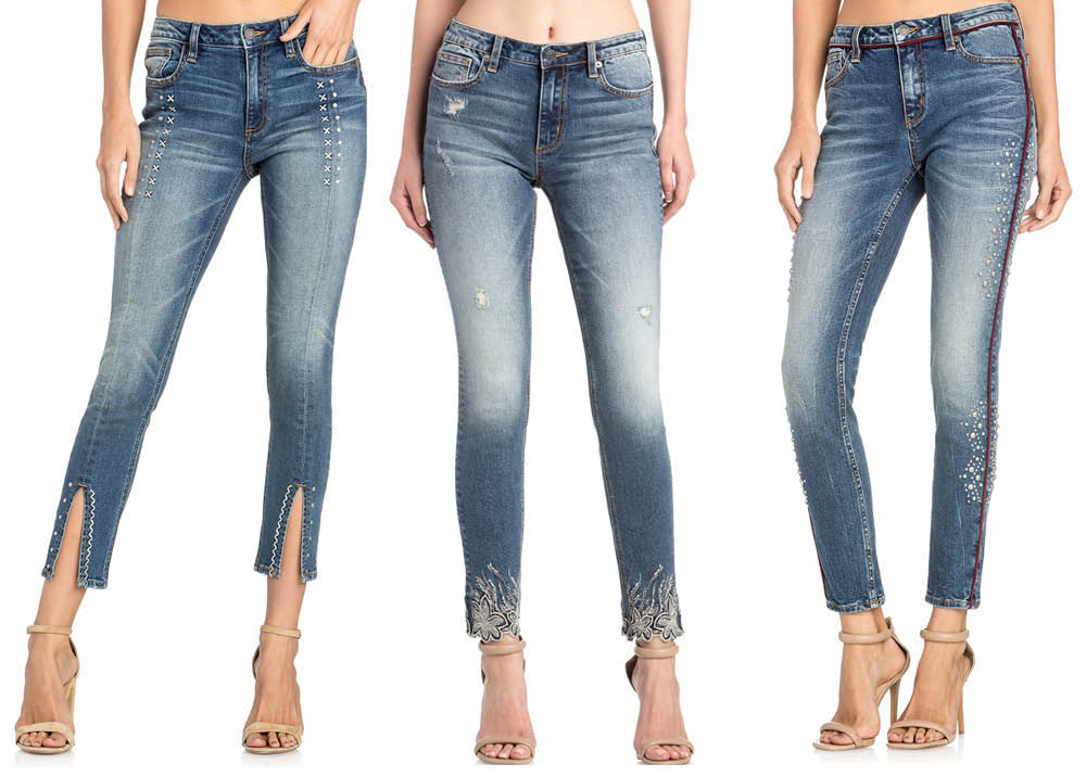 three pairs of jeans