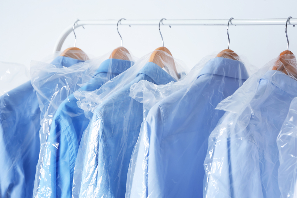 Clothing in plastic bags