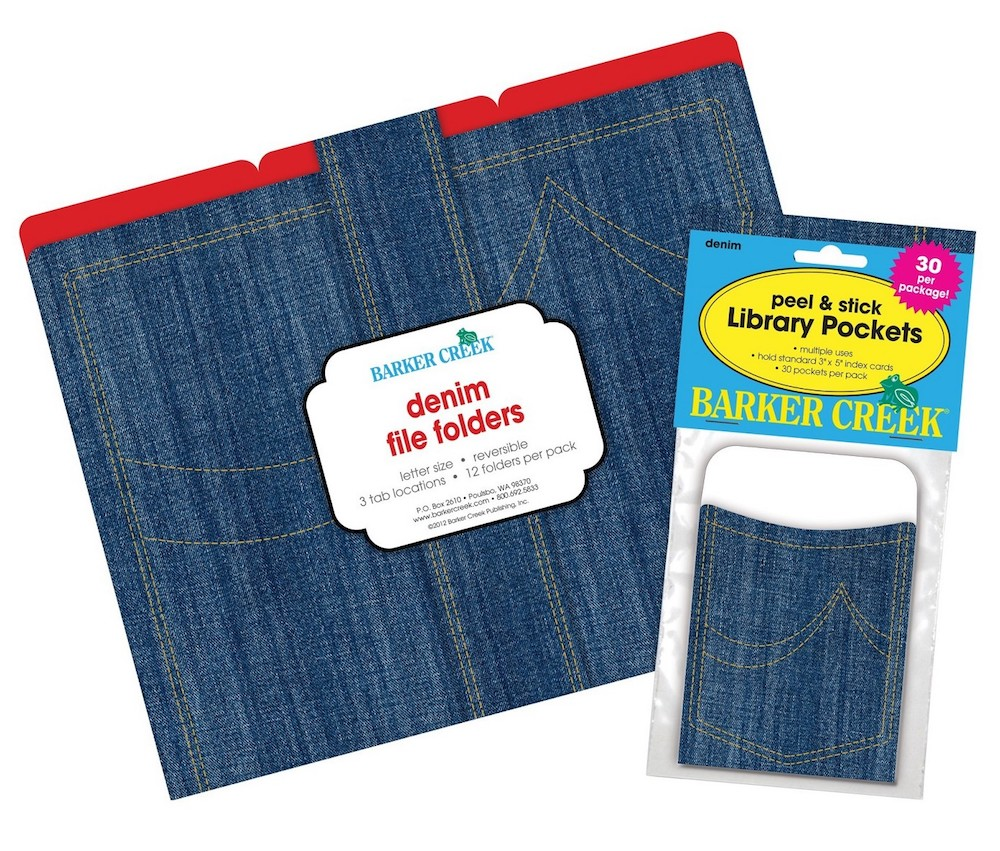 Denim file folders and library pockets by Barker Creek