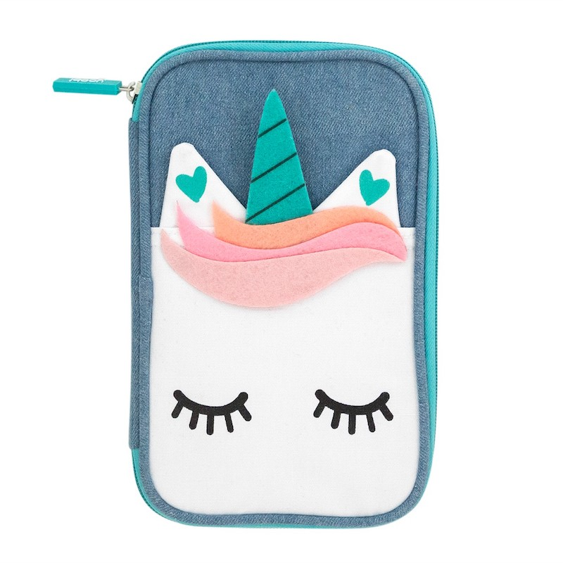 Denim unicorn pencil case by Yoobi