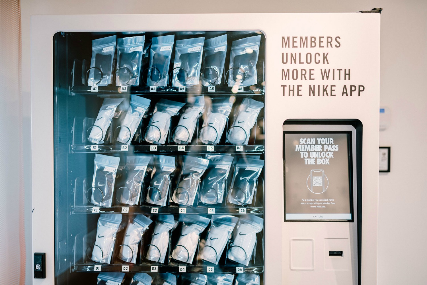 NikePlus members can redeem product or rewards by using their member pass every two weeks at the NikePlus Unlock Box (essentially a digital vending machine).
