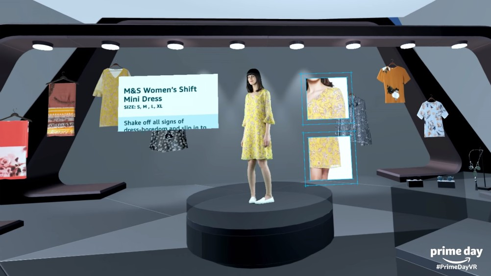 Amazon India's virtual reality mall kiosks show off products available in the Prime Day sale.