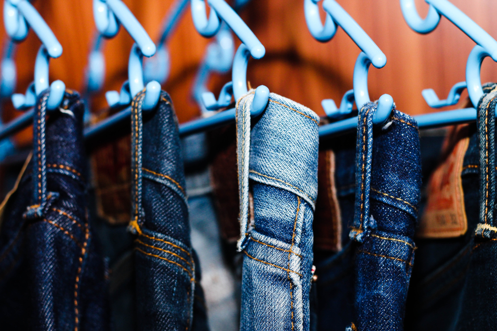 jeans hanging in closet