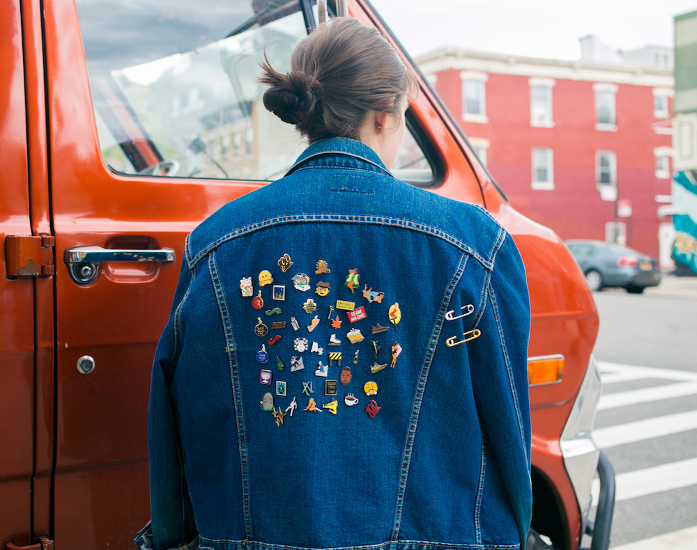 jean jacket with pins