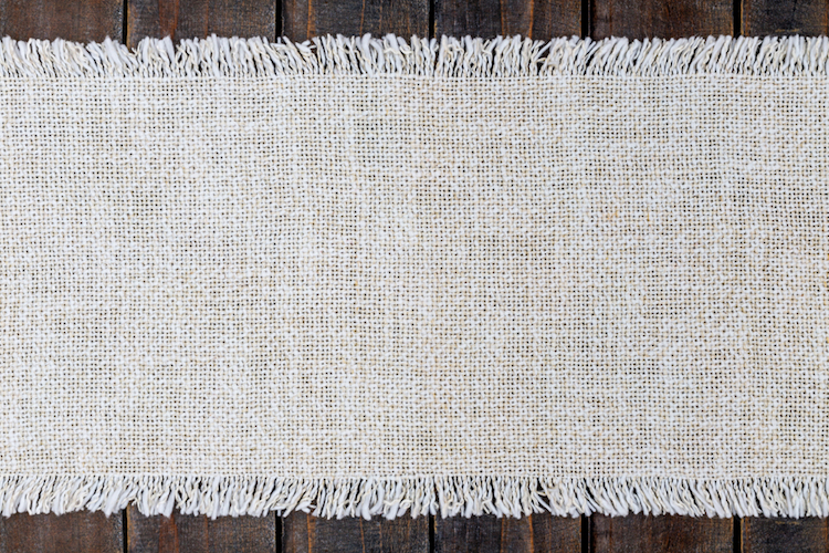 Table fabric linen Runner on wooden table