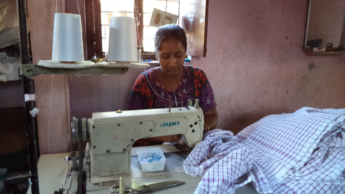 Home workers in Karur, Tamil Nadu, make household textiles, tea towels etc for global supply chains.