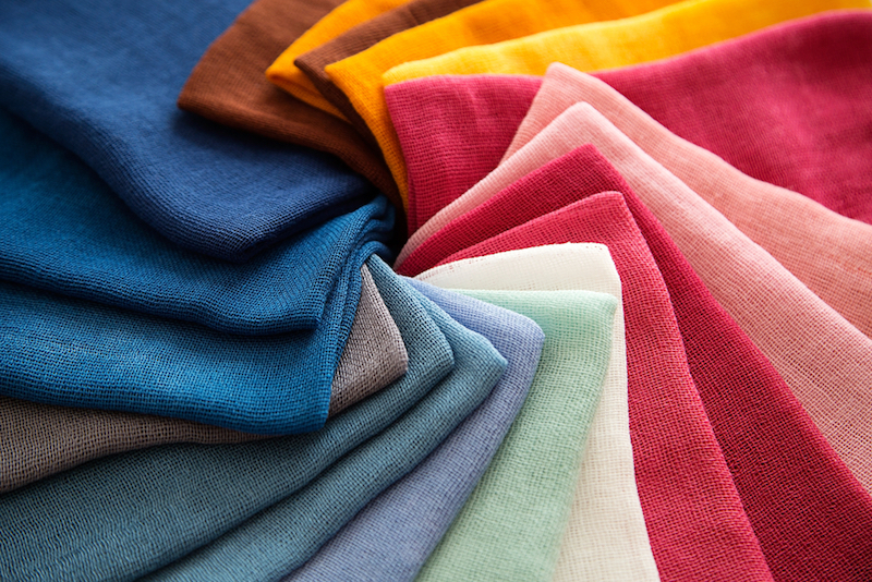 A Group of Twisted Colored Gauze Fabric