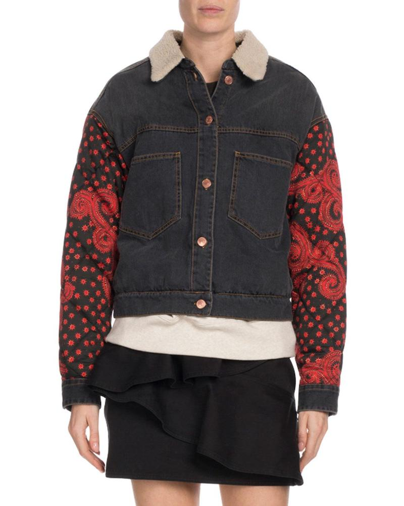 Isabel Marant jean jacket with quilted sleeves