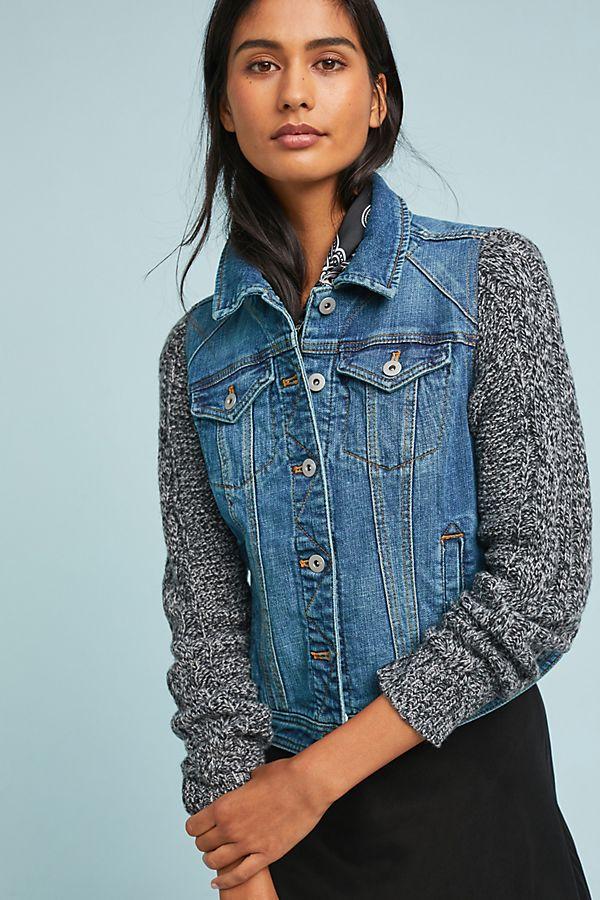 Pilcro sweater-sleeved denim jacket