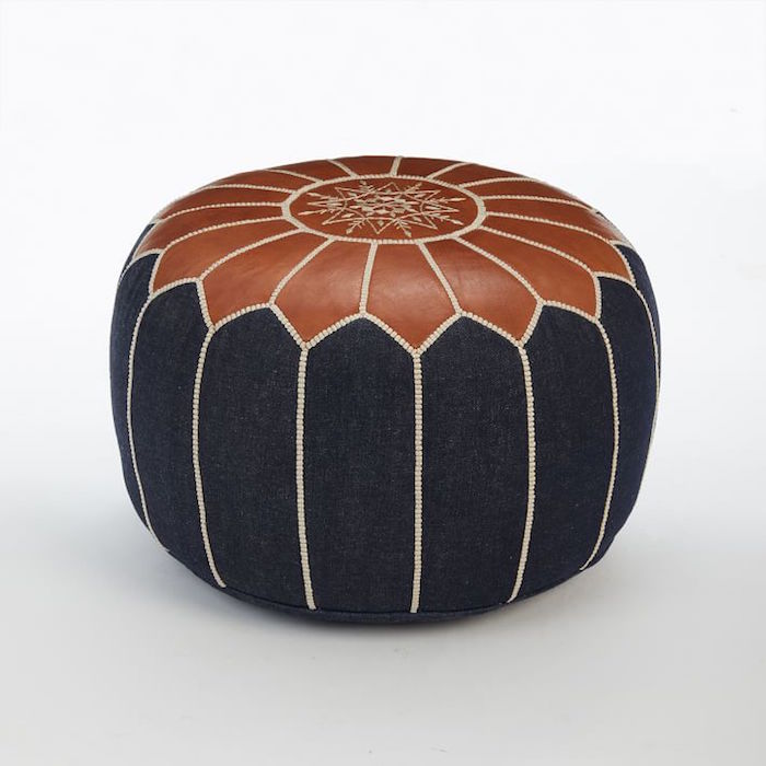 Moroccan denim and leather pouf