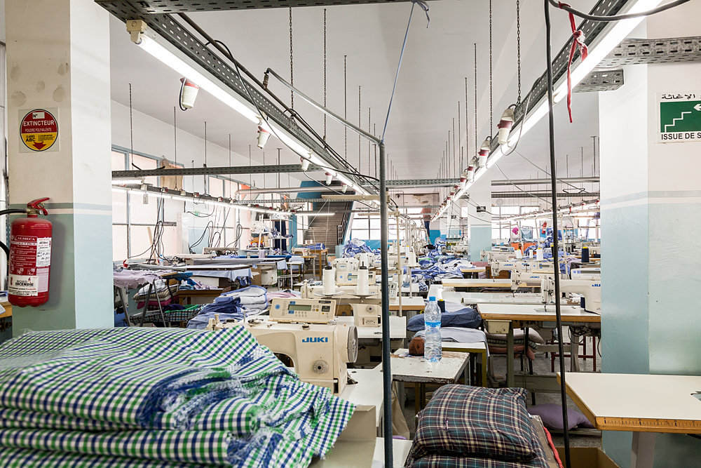 Image of an empty apparel factory