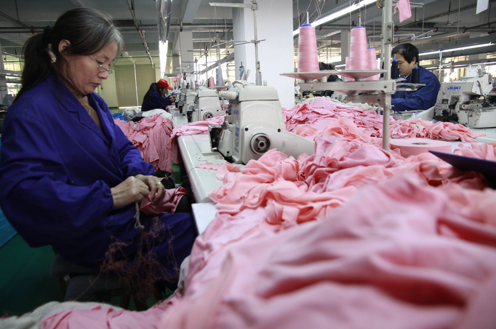 workers making apparel in china factory