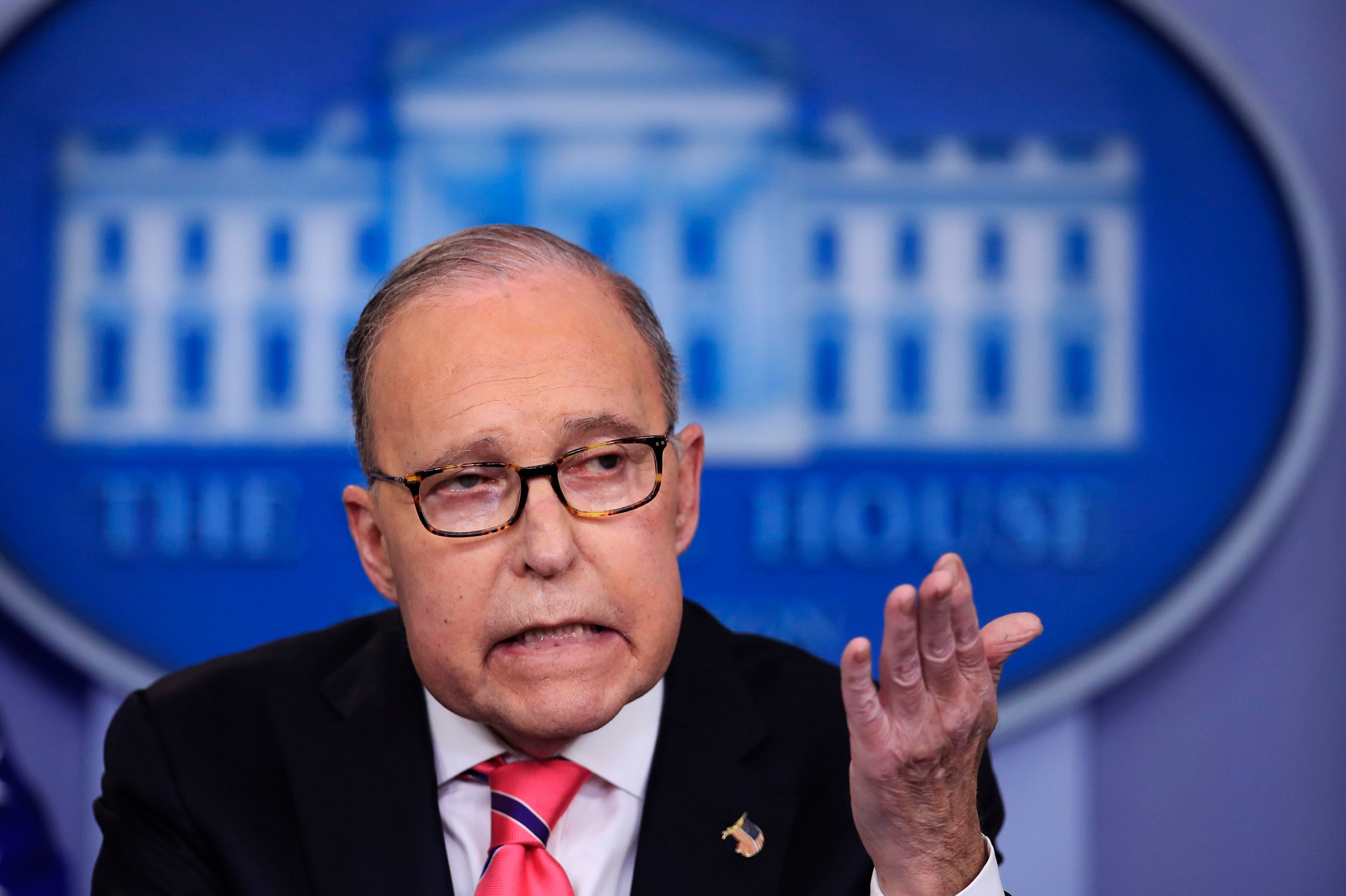 National Economic Council Director Larry Kudlow speaks to reporters during the daily press briefing at the White House