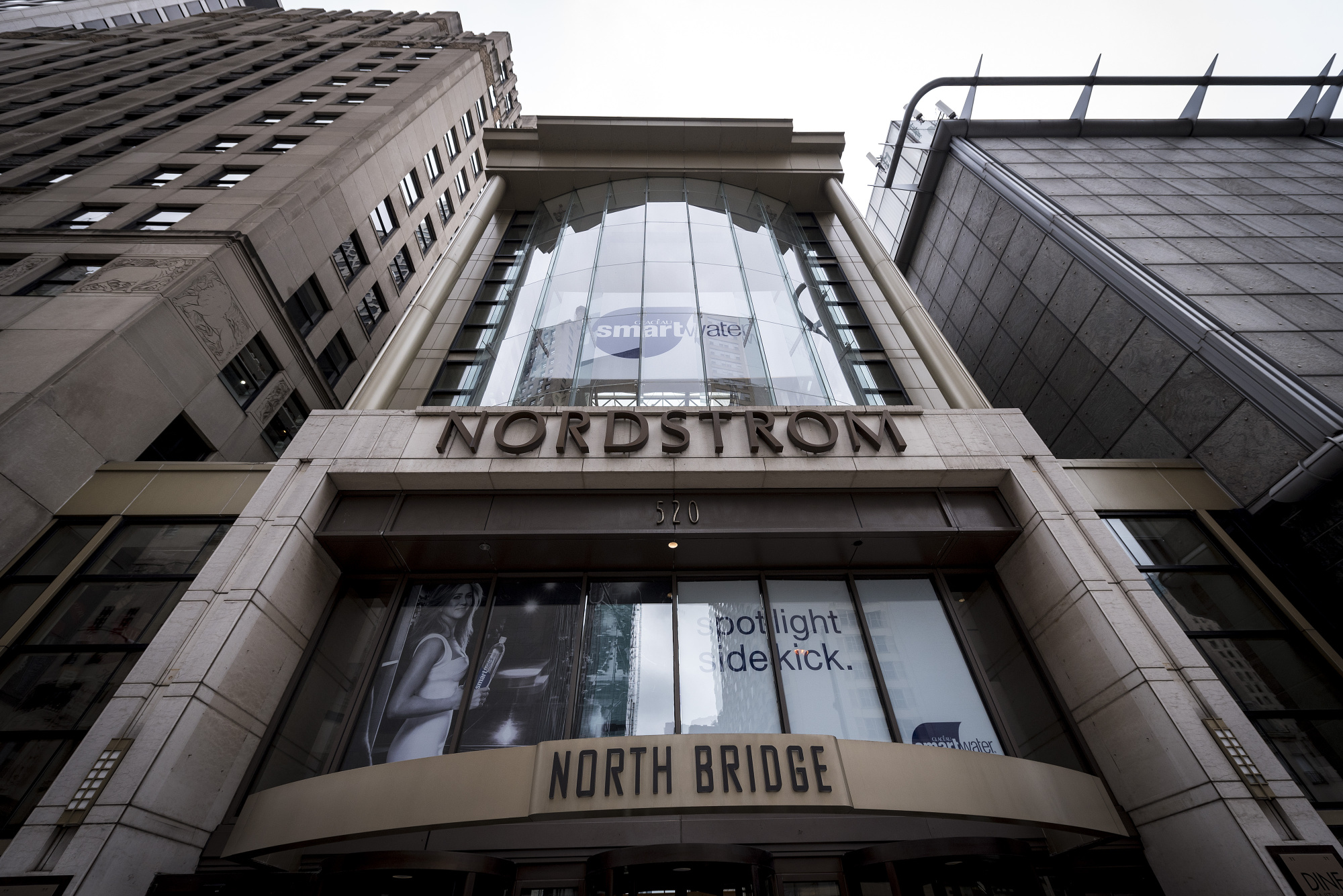 Signage is displayed outside a Nordstrom Inc. store in downtown Chicago