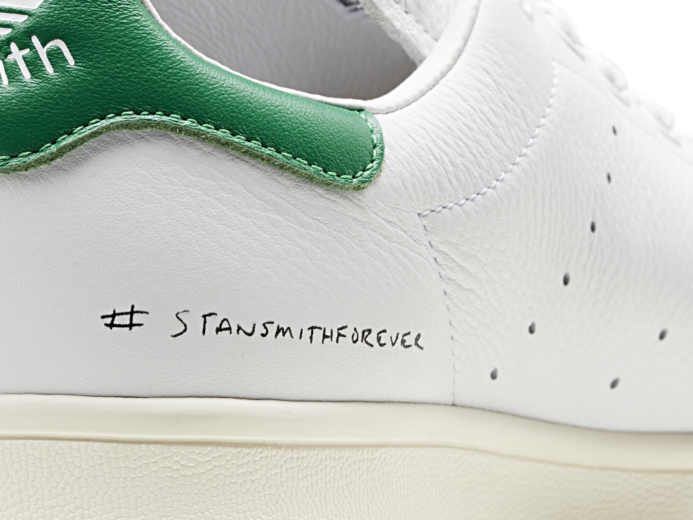 A close-up of the #stansmithforever decal rendered in Smith's own handwriting.