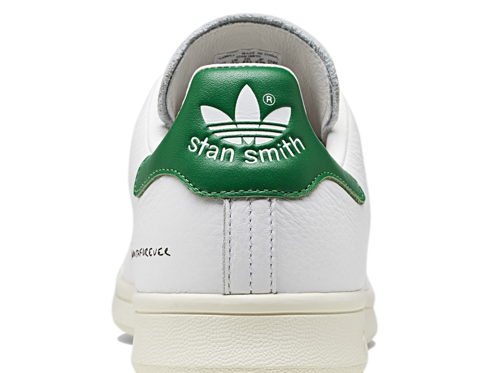A look at the classic Trefoil and green heel of the #stansmithforever.