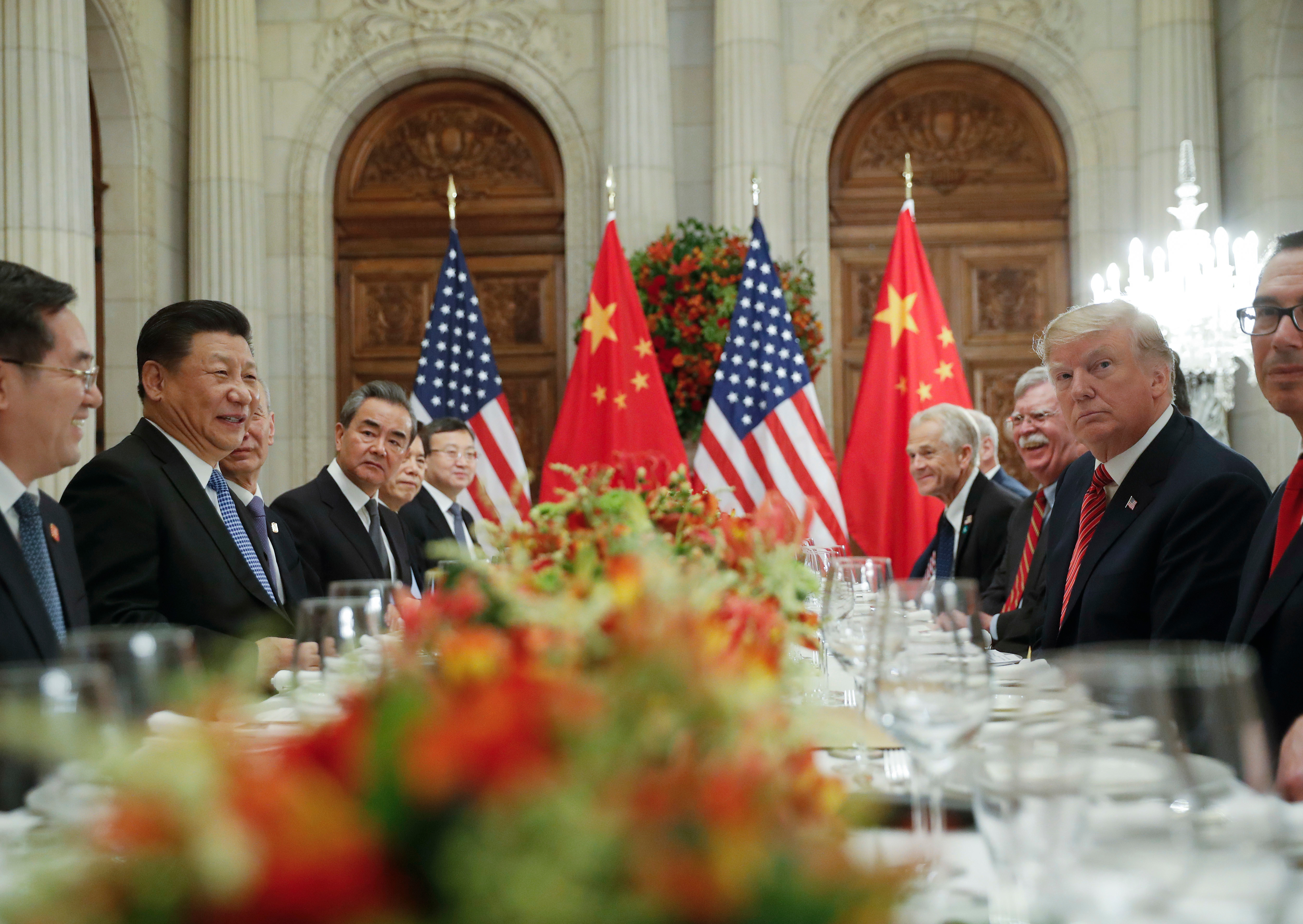 President Donald Trump with China's President Xi Jinping during their bilateral meeting at the G20 Summit