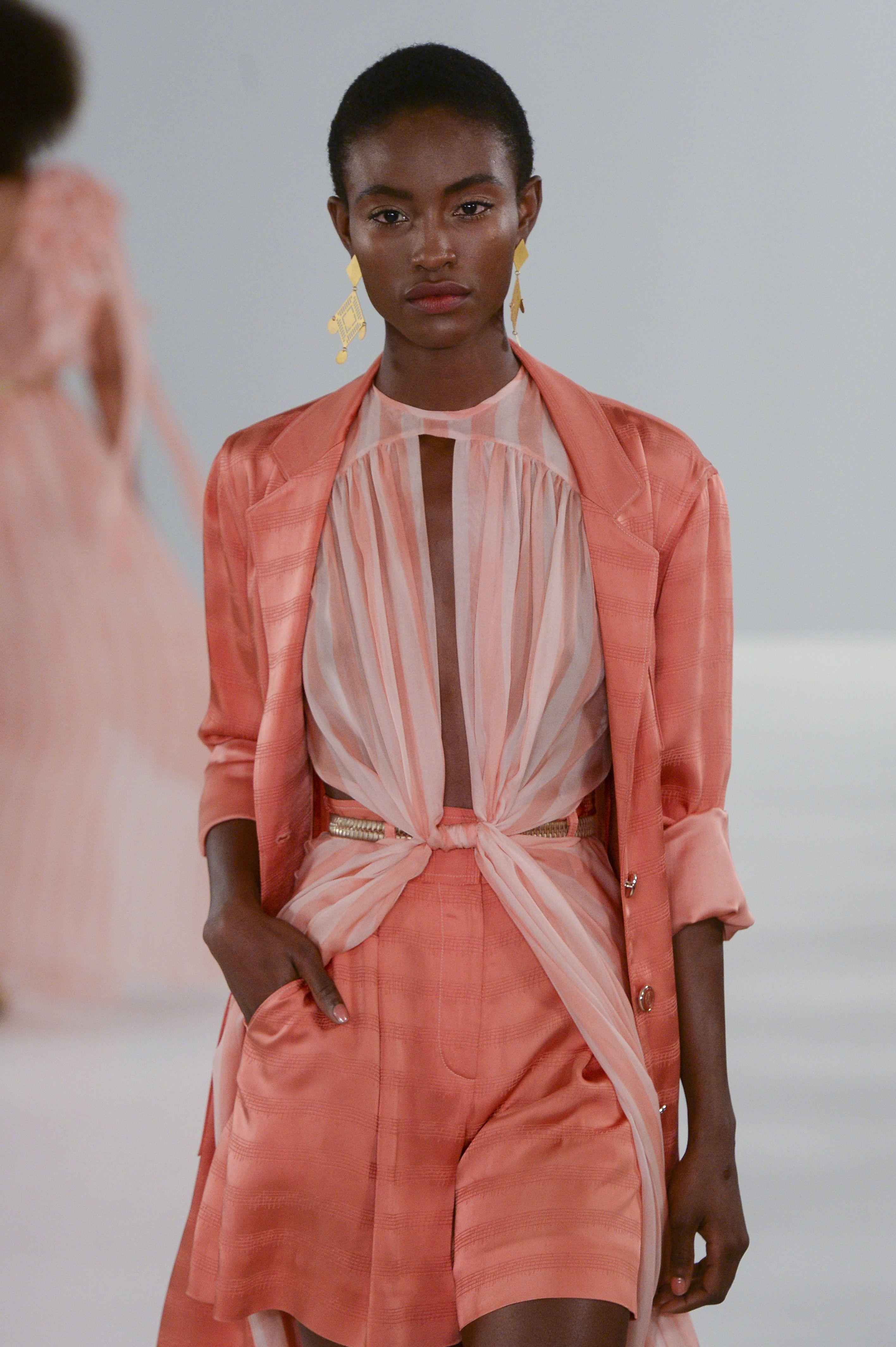 Model on the catwalk Temperley London show, Runway, Spring Summer 2019, London Fashion Week, UK – 15 Sep 2018