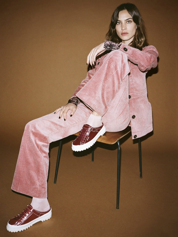 Chung pairs pink corduroy with her metallic plimsolls.