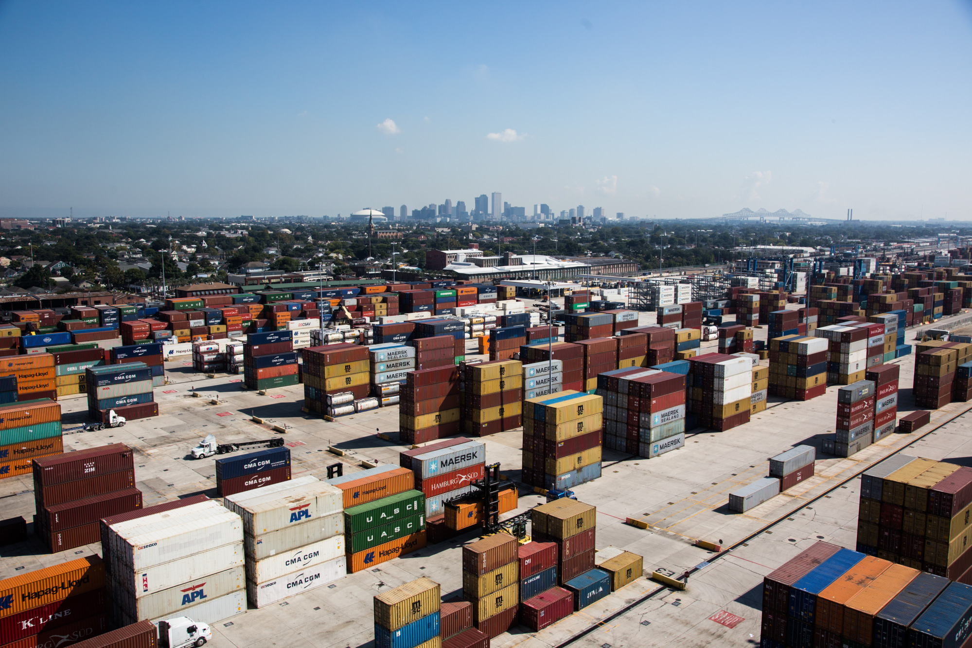 Shipping containers sit stacked at the Port of New Orleans in New Orleans, Louisiana, U.S.