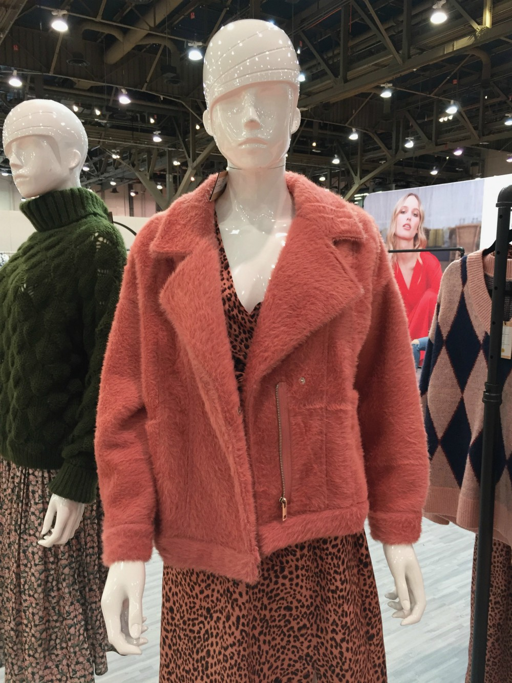 Vegan fur and leather options at MAGIC ranged in color. Brands favored bright hues not often found in the animal kingdom, like mustards and corals.