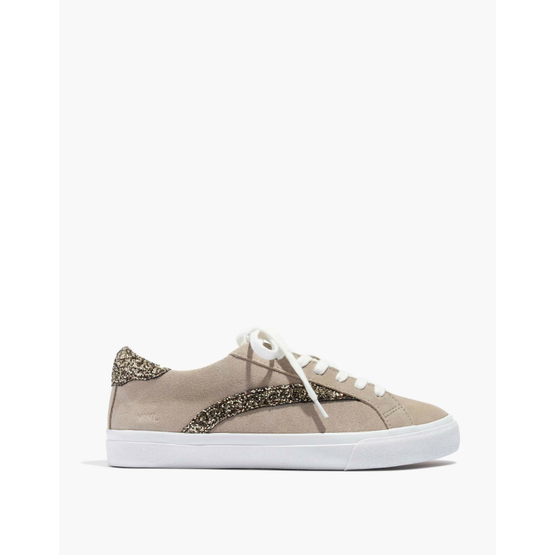 Sidewalk Low-Top Sneakers in Glitter-Accented Suede