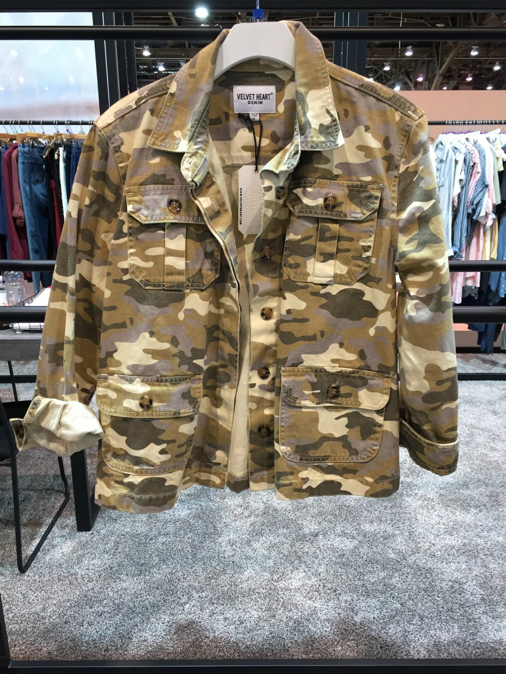 """Military-inspired styling, especially camo, has always had a place at retail. But this fall it's """"continuing forward in a very big way,"""" said Jordan Tsabag, VP of sales for Velvet Heart, noting that this year's military trend will be about the head-to-toe look.""""It's a very casual and chic way to do a uniform."""""""