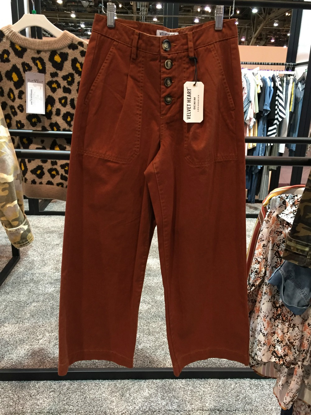 Skinny jeans are out and billowy, wide-leg trousers are in. At MAGIC, cropped and full-length versions of the silhouette ranged in color from neutrals to brights. Pleats or darts added to the look's '70s retro vibe.