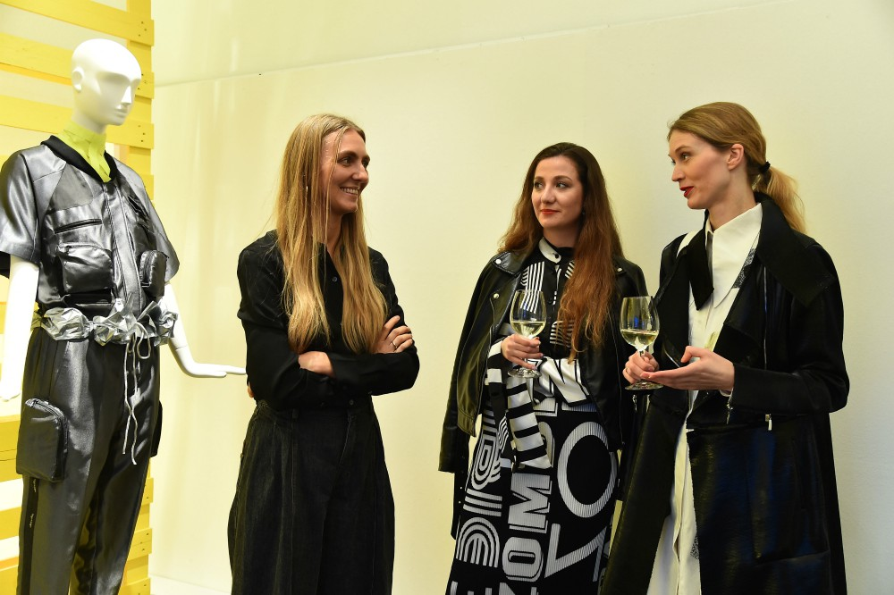 Ksenia of Ksenia Schnaider mingles with fashion insiders at the Milan Fashion Week event.