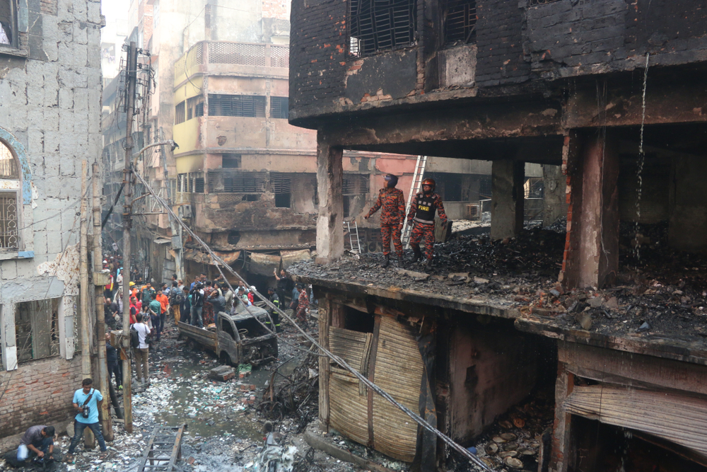 At Least 70 people have been killed in a massive fire that ripped through several buildings in Chawkbazar, Dhaka, Bangladesh 21 February 2019.