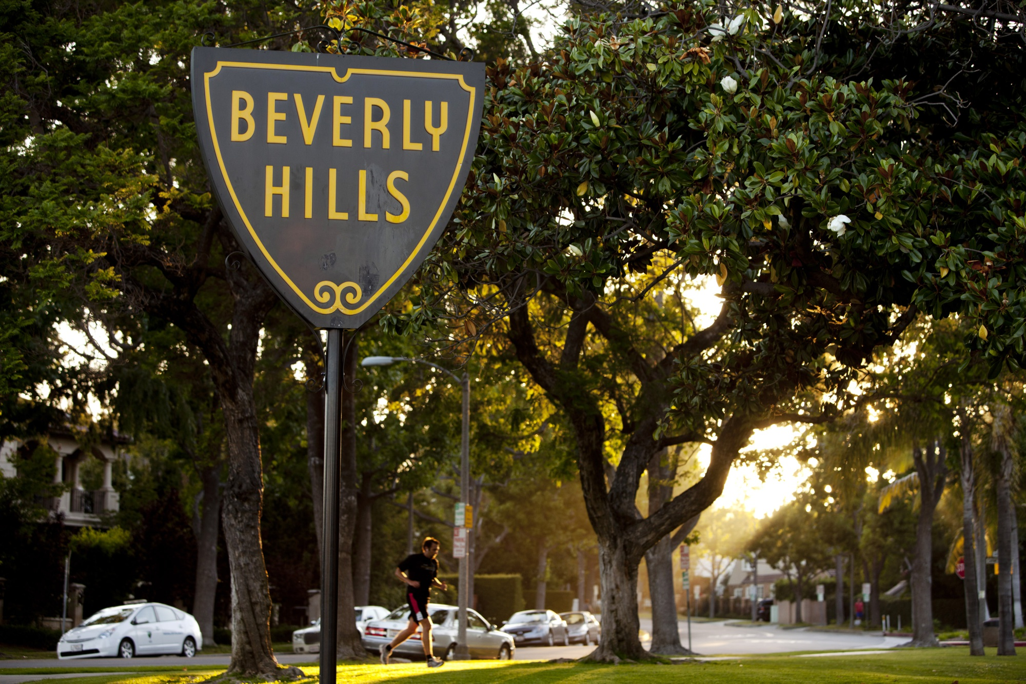 The official seal of the city of Beverly Hills is displayed on a sign in Beverly Hills, California, U.S.