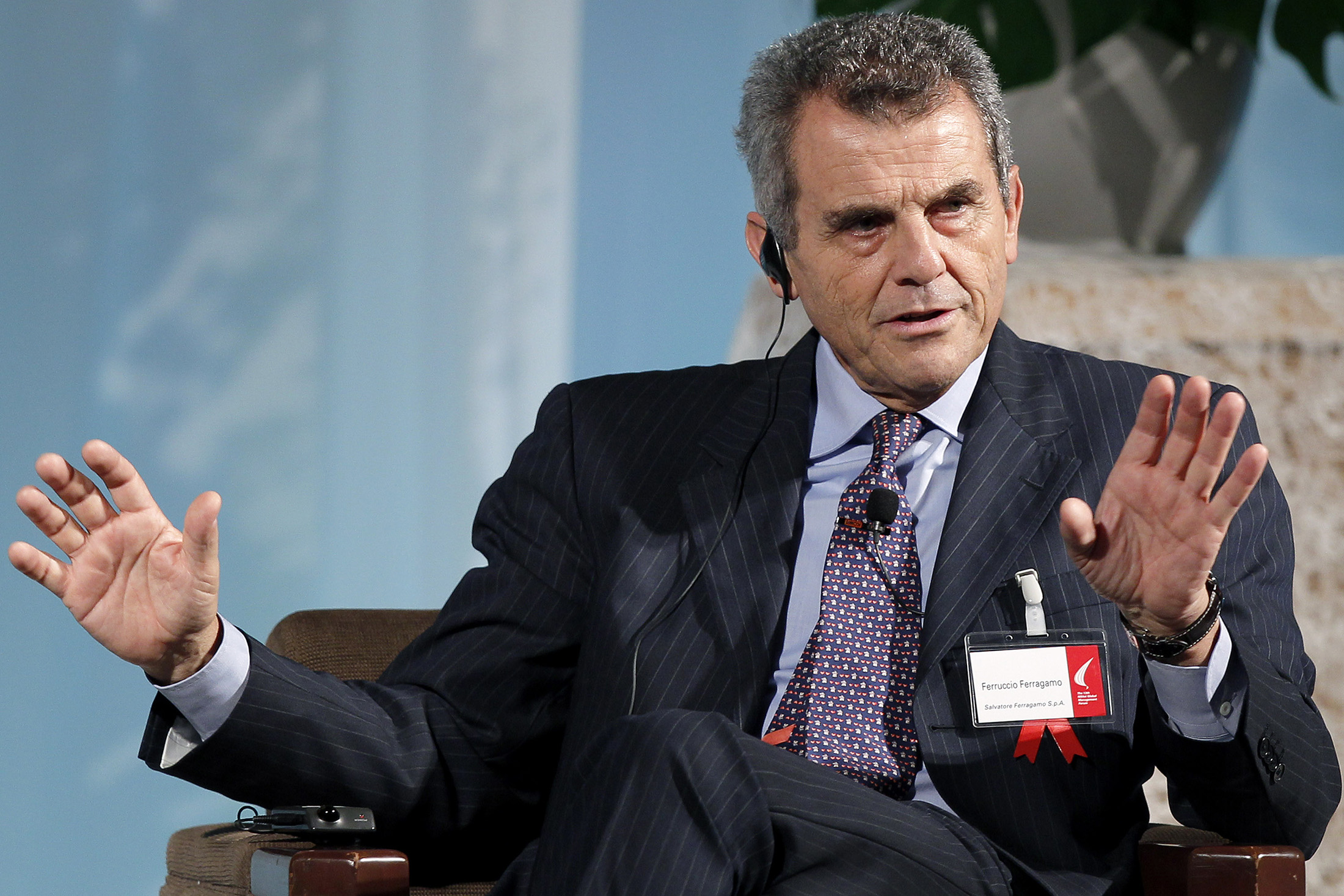 Ferruccio Ferragamo, chairman of Salvatore Ferragamo SpA, speaks at the 13th Nikkei Global Management Forum in Tokyo, Japan, on Monday, Oct. 24, 2011. The 2 day forum is organized by Nikkei Inc., IMD and Japan Center for Economic Research