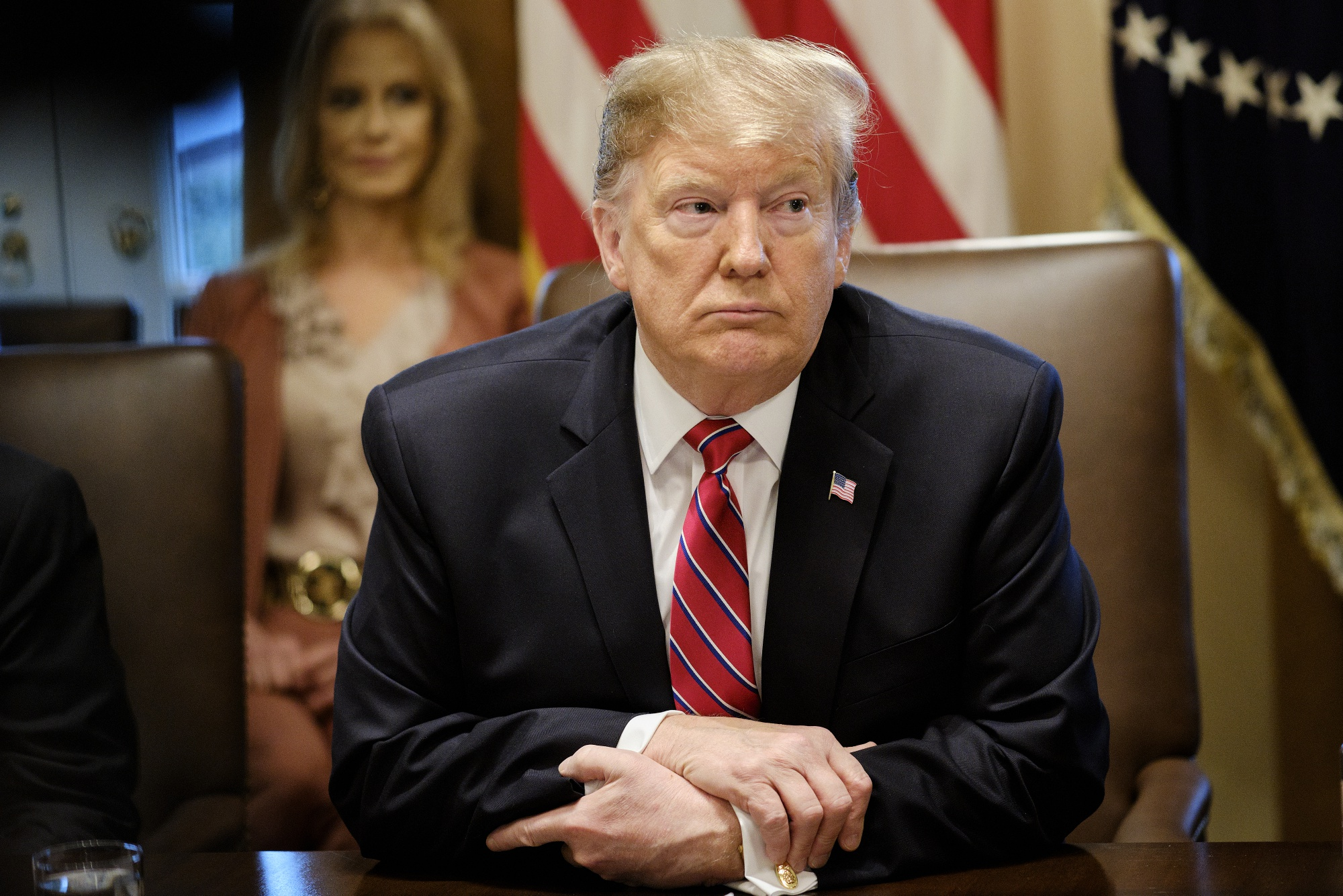 U.S. President Donald Trump listens during a meeting in the Cabinet Room of the White House in Washington, D.C., U.S., on Tuesday, Feb. 12, 2019.