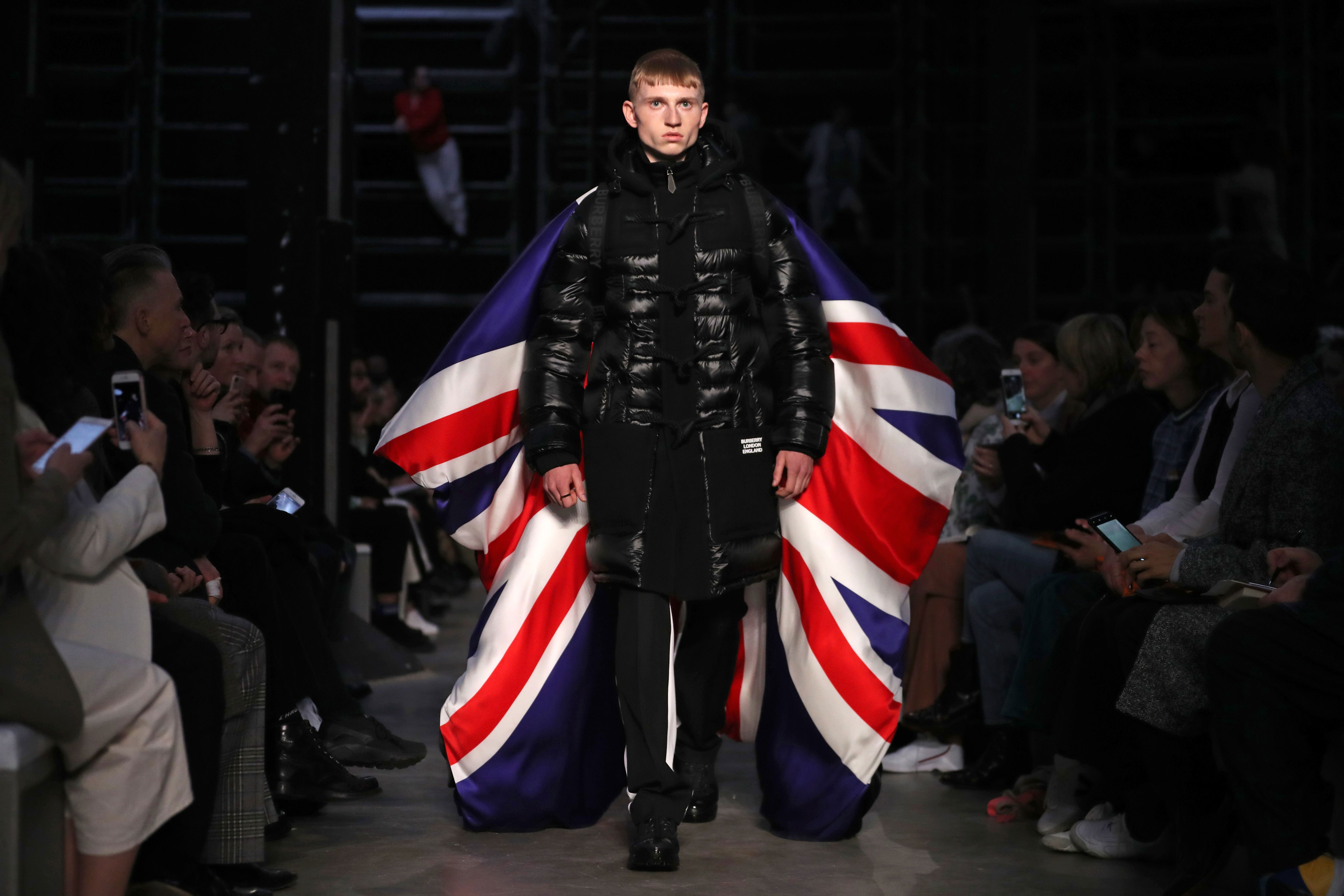 A model presents a creation during the British fashion house Burberry 2019 Autumn / Winter collection catwalk show at London Fashion Week in London
