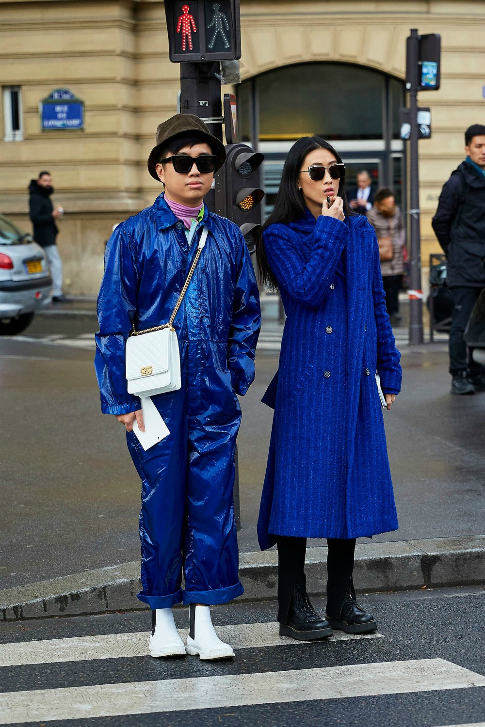 This dynamic Princess Blue duo stands out on the streets during Paris Fashion Week.