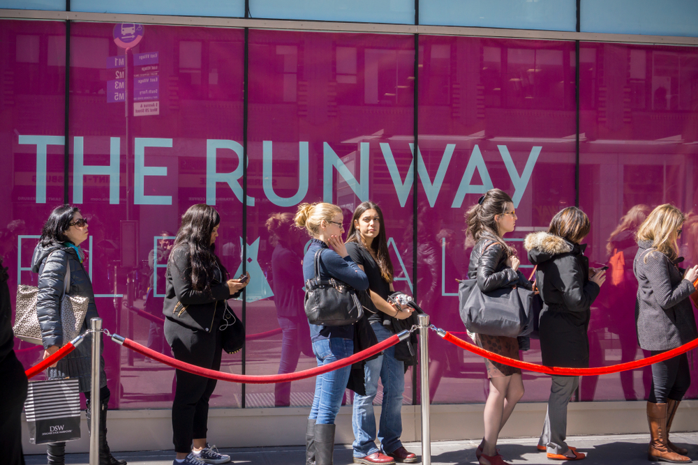 Shoppers line up at the Rent The Runway sample sale in New York