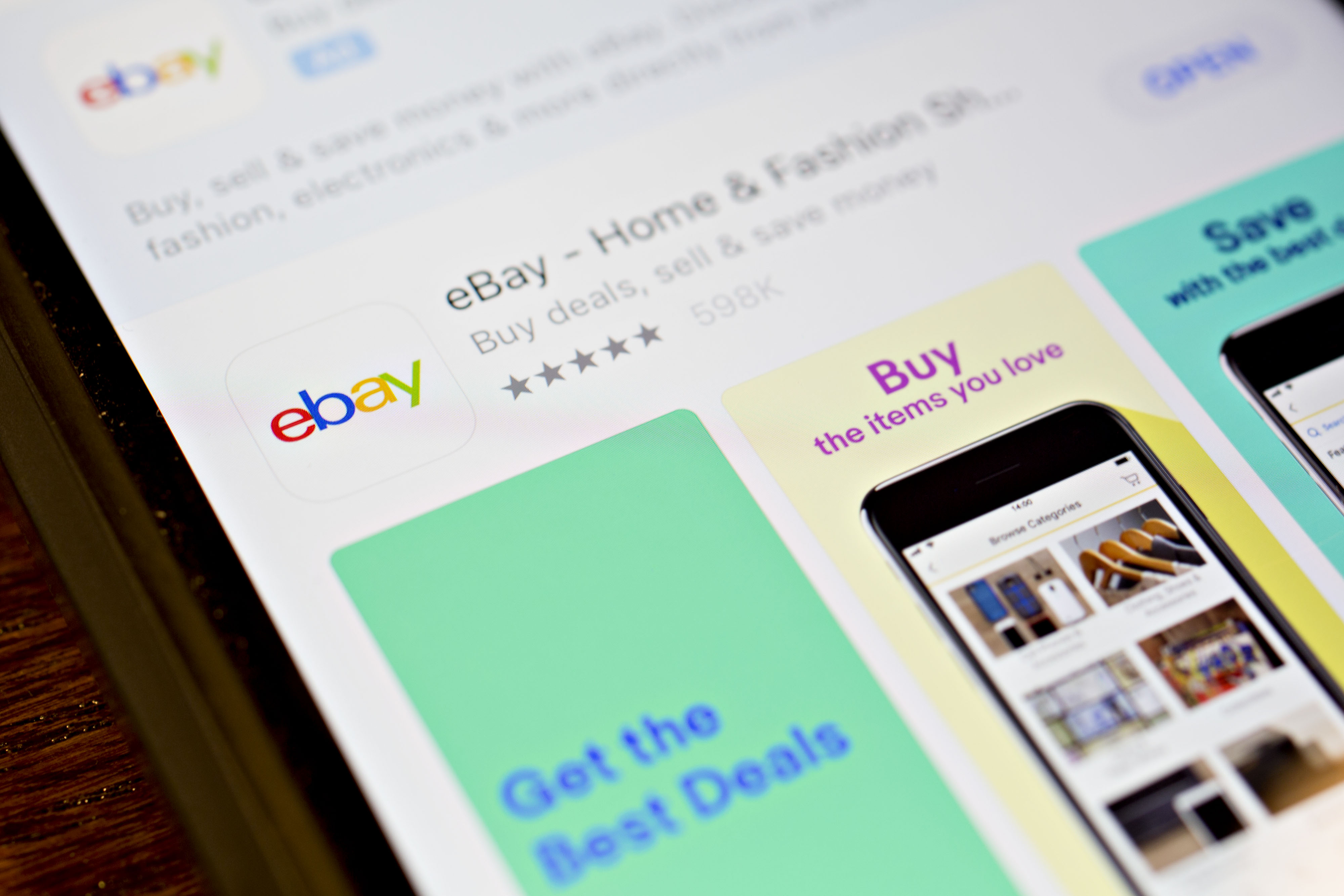 The eBay Inc. application is seen in the App Store on an Apple Inc. iPhone