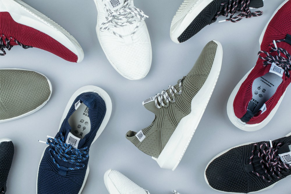 Composed of 90 percent recycled materials, including the equivalent of six plastic bottles, each pair of PETA-approved vegan shoes boasts a carbon footprint 80 percent smaller than conventional sneakers, according to the company.