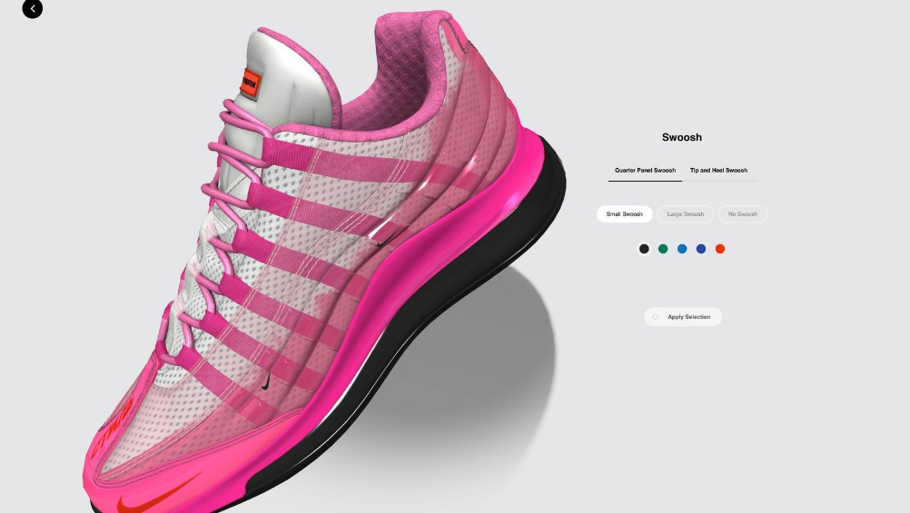 """Nike By You"" also allows users to customize and place its iconic swoosh."