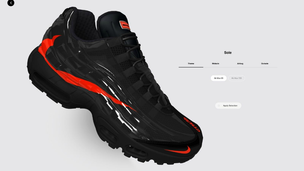 The platform's exclusive sneaker silhouette lets users  mix-and-match the features of the Air Max 720 with the Air Max 95 to create their own styles.