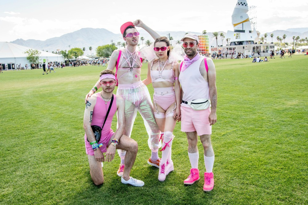 Blush much? David Minadeo, RJ Sonnies, Tiana Tuttle, Russell Thomas go for pink power at Coachella.