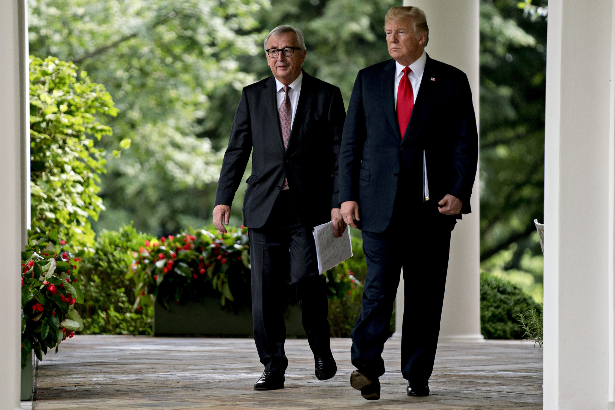 Donald Trump, right, and Jean-Claude Juncker, in Washington, D.C., on July 25, 2018.