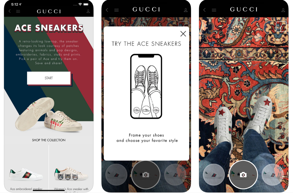 gucci augmented reality ios app virtual sneaker try-on